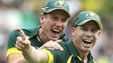 Australia's David Warner celebrates the run out of Ian Bell