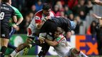 Ulster duo Nick Williams and Chris Henry combine to tackle Leicester's Jordan Crane