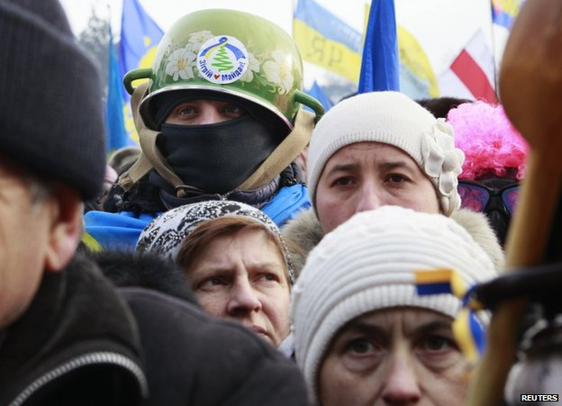 Demonstrators in Kiev, 19 January
