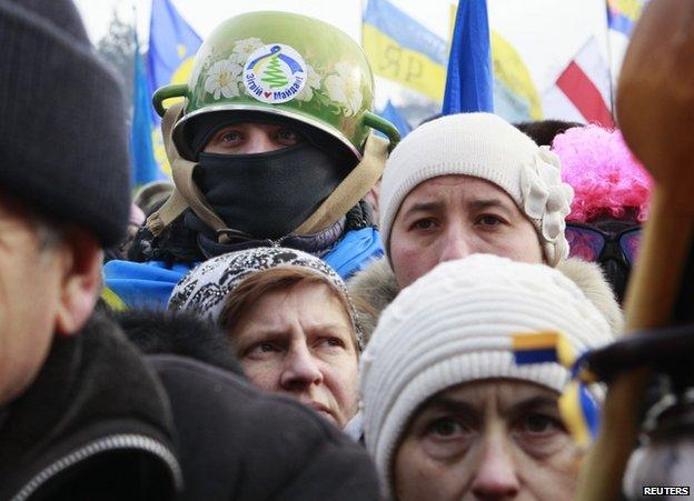 Demonstrators in Kiev, 19 January