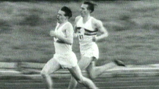 Sir Chris Chataway helps pace Sir Roger Bannister to break the four-minute mile in 1954.
