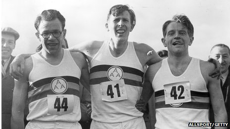 Roger Bannister (centre) with Chris Chataway (right) and Chris Brasher (1928 - 2003) after Bannister broke the mile world record with a time of 3 minutes and 59.4 seconds.
