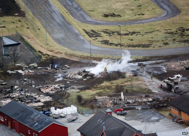 An aerial view of fire damage in Laerdalsoyri, southern Norway, 19 January