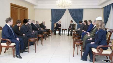 A Sana news agency handout of President Assad's meeting with the Russian delegation