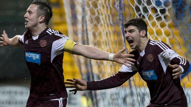 Hearts captain Danny Wilson celebrates his goal against St Johnstone with team-mate Callum Paterson