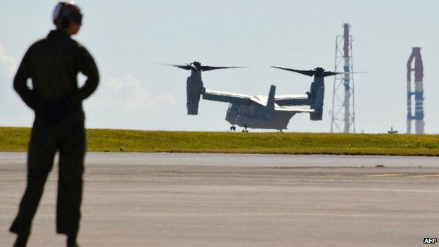 File photo: one of two MV22 Osprey tilt-rotor transport aircrafts arrives at the Futenma Air Station in Okinawa Prefecture on 3 August 2013