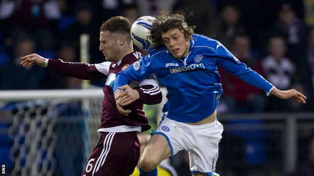 St Johnstone midfielder Murray Davidson suffered the injury against Hearts