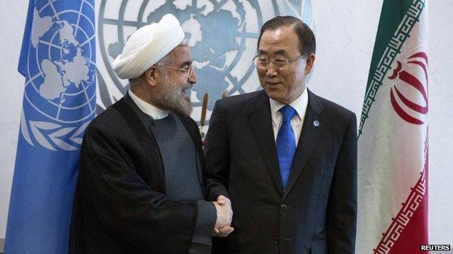 "United Nations Secretary-General Ban Ki-moon and Iran""s President Hassan Rohani"