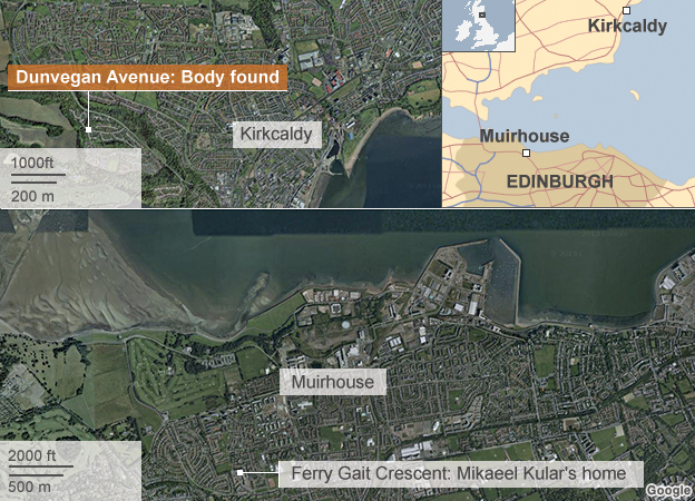 Map showing where body was found and home in Edinburgh