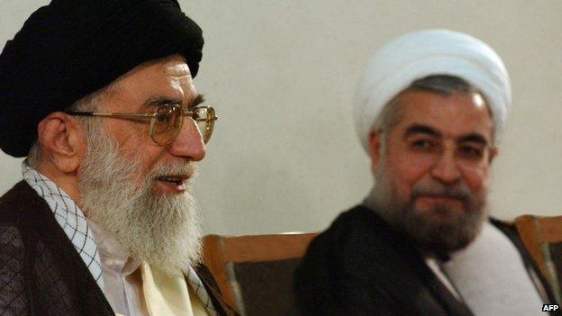 Iran's Supreme Leader, Ayatollah Ali Khamenei, and President Hassan Rouhani (16 June 2013)