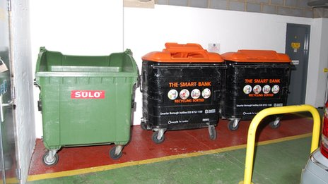 Photograph of bins in a car park shown in court