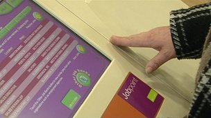 Jobpoints database inside a job centre