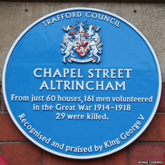 Blue plaque in Chapel Street, Altrincham
