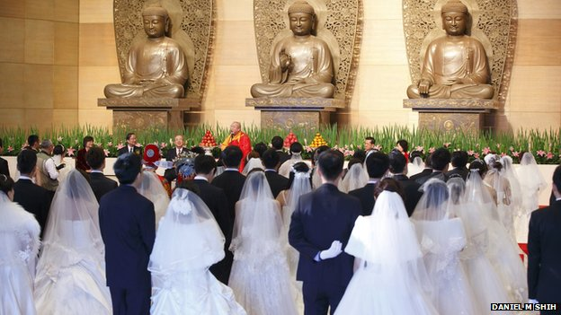 A mass wedding at Dharma Drum Mountain in northern Taiwan