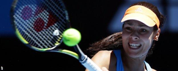 Ana Ivanovic plays a shot against Eugenie Bouchard