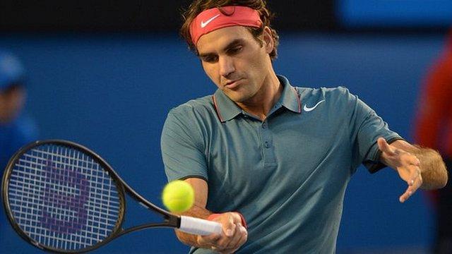 Roger Federer in action at the Australian Open