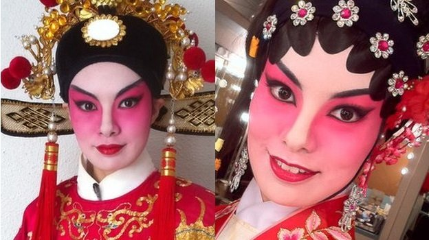 Luvin Chingwai as male (left) and female (right) characters in Cantonese Opera