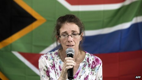 Yolande Korkie holds a press conference in Johannesburg on 16 January 2014