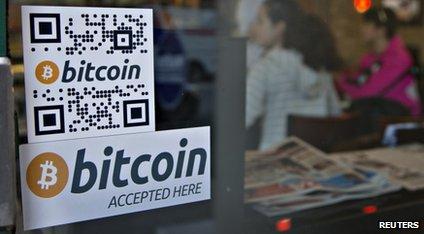 A Bitcoin poster in a shop
