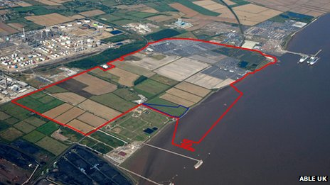 Red outline showing the area of Able UK's development and blue outline showing the area ABP wants to develop