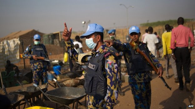 Peacekeepers at a UN base in Juba, 17 January 2014