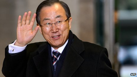 Ban Ki-moon waves as he sets off for the talks in Montreux