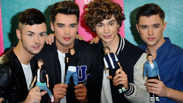 Union J with look alike dolls