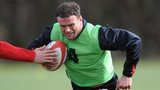 Jamie Roberts in training for Wales