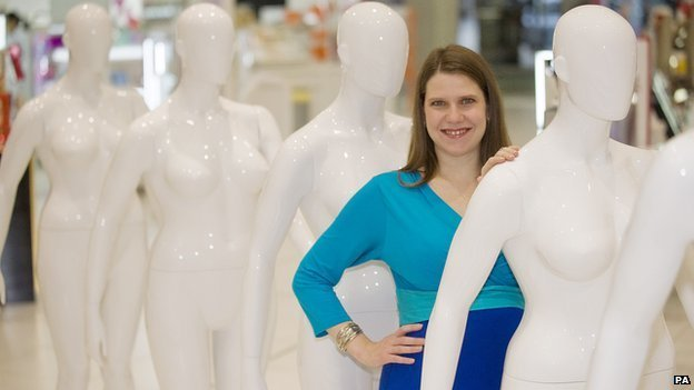 MP Jo Swinson at the launch of Debenhams size 16 mannequin range, Oxford Street, central London