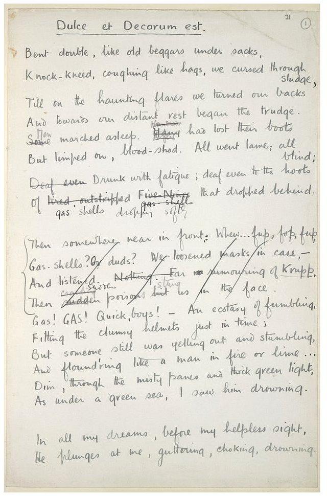 Wilfred's handwritten poem 'Dulce et Decorum est'