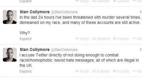 Collymore tweets