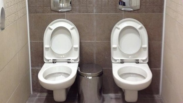 A twin toilet in Russia