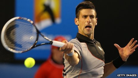 Novak Djokovic in action in the Australian Open
