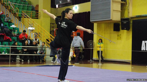 File photo: Luvin Chingwai at a Hong Kong martial arts competition