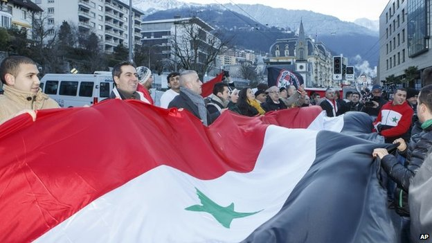 Pro-Assad protesters in Montreux (22 Jan 2012)