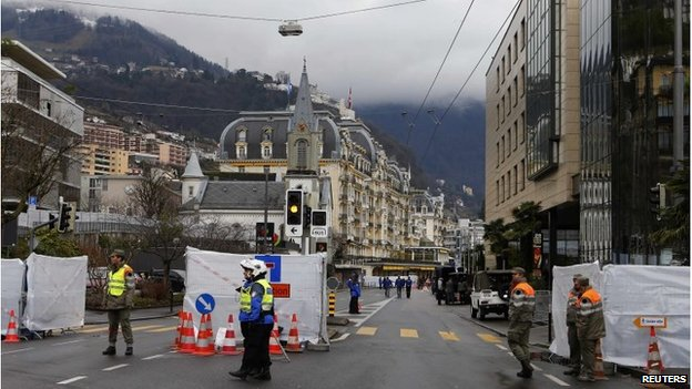Security around summit venue in Montreux (21 Jan 2014)