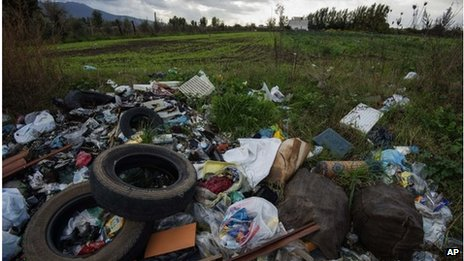 Waste dumped on the edge of farmland near Naples, 18 November 2013