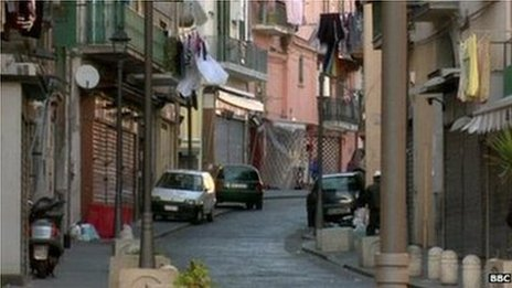 A street scene in Ercolano, just outside Naples.