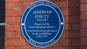 Blue plaque for Jedediah Strutt