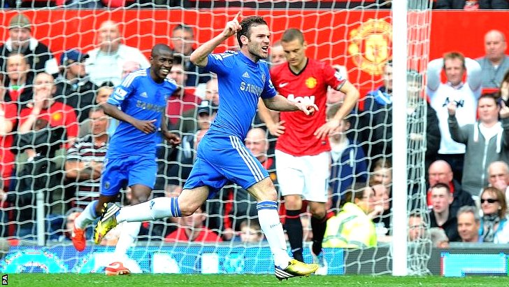Juan Mata scores against Manchester United