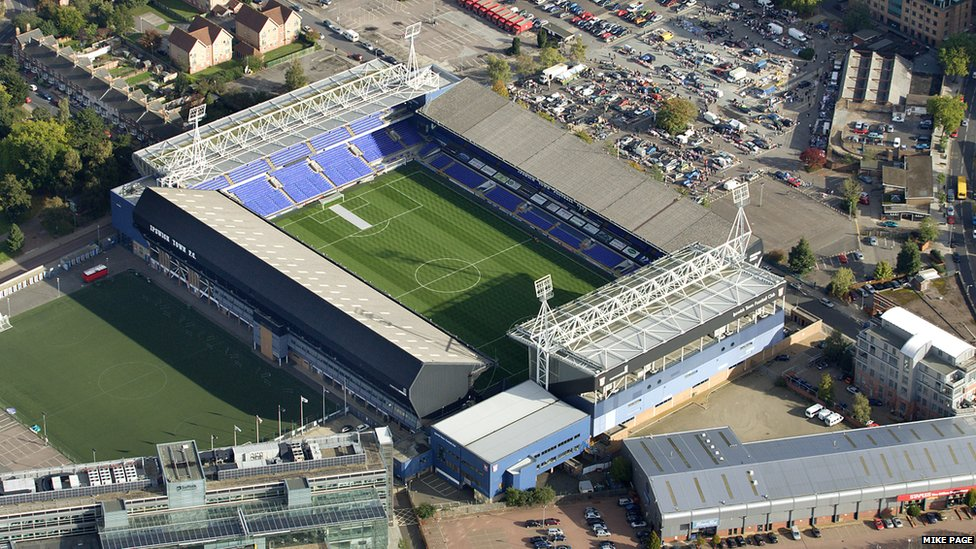 Aerial view of Portman Road by Mike Page
