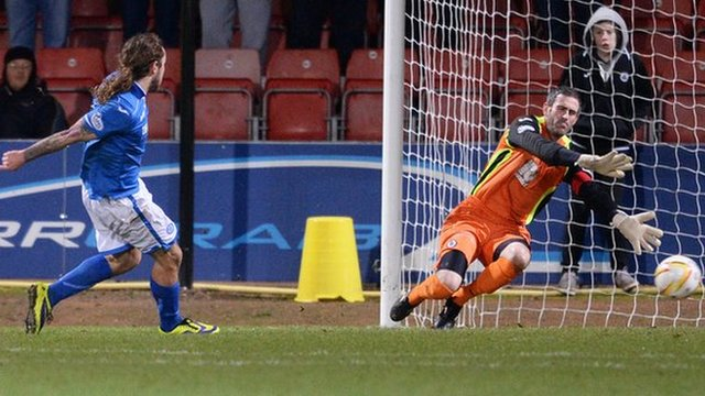 Stevie May scores for St Johnstone against Partick Thistle