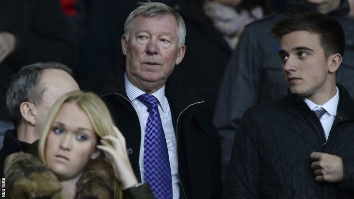 Sir Alex Ferguson watches the match at Old Trafford