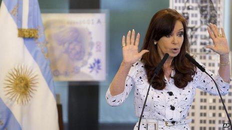 Cristina Fernandez inside the Casa Rosada