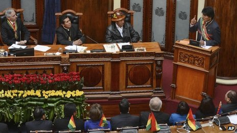 Evo Morales in the Congress Building, La Paz