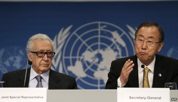 UN Secretary General Ban Ki-Moon (right) and UN-Arab League envoy for Syria Lakhdar Brahimi give a press conference closing the Geneva II peace talks on 22 January 2014