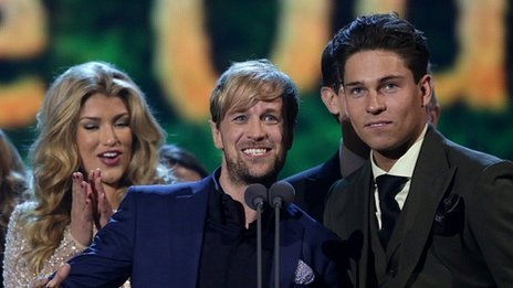 Joey Essex (right), Kian Egan, Jodie Albert