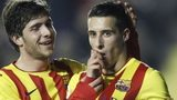Barcelona's Cristian Tello (right) is congratulated by team-mate Sergi Roberto