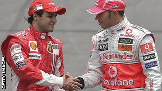 Felipe Massa shakes hands with Lewis Hamilton before the title-deciding Brazilian Grand Prix in 2008