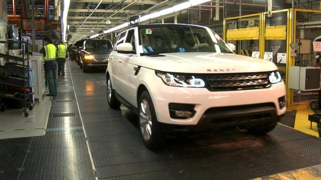 Range rover cars on production line